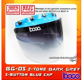 BOGO VISOR BG-05 2-TONE GREY, 5 BUTTONS BLUE-CAP