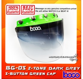 BOGO VISOR BG-05 2-TONE GREY, 5 BUTTONS GREEN-CAP