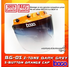 BOGO VISOR BG-05 2-TONE GREY, 5 BUTTONS ORANGE-CAP