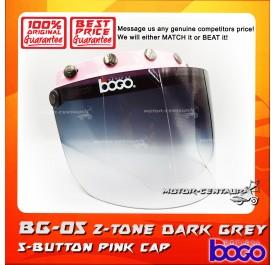 BOGO VISOR BG-05 2-TONE GREY, 5 BUTTONS PINK-CAP