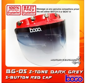 BOGO VISOR BG-05 2-TONE GREY, 5 BUTTONS RED-CAP