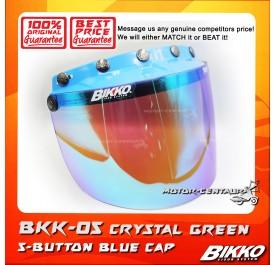 BIKKO VISOR BKK-05 CRYSTAL GREEN, 5 BUTTONS BLUE-CAP