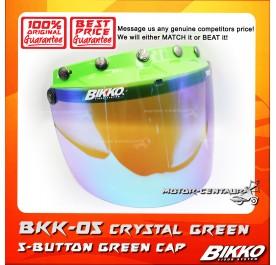 BIKKO VISOR BKK-05 CRYSTAL GREEN, 5 BUTTONS GREEN-CAP
