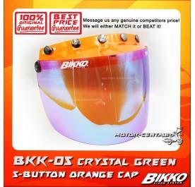 BIKKO VISOR BKK-05 CRYSTAL GREEN, 5 BUTTONS ORANGE-CAP