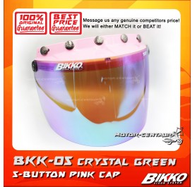 BIKKO VISOR BKK-05 CRYSTAL GREEN, 5 BUTTONS PINK-CAP