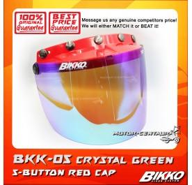 BIKKO VISOR BKK-05 CRYSTAL GREEN, 5 BUTTONS RED-CAP