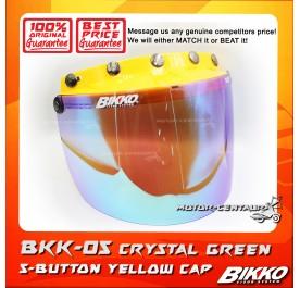 BIKKO VISOR BKK-05 CRYSTAL GREEN, 5 BUTTONS YELLOW-CAP