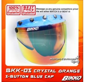 BIKKO VISOR BKK-05 CRYSTAL ORANGE, 5 BUTTONS BLUE-CAP