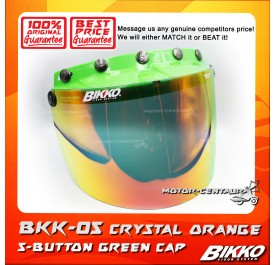 BIKKO VISOR BKK-05 CRYSTAL ORANGE, 5 BUTTONS GREEN-CAP