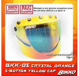 BIKKO VISOR BKK-05 CRYSTAL ORANGE, 5 BUTTONS YELLOW-CAP