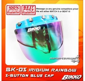 BIKKO VISOR BK-05 IRIDIUM RAINBOW, 5 BUTTONS BLUE-CAP