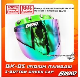 BIKKO VISOR BK-05 IRIDIUM RAINBOW, 5 BUTTONS GREEN-CAP