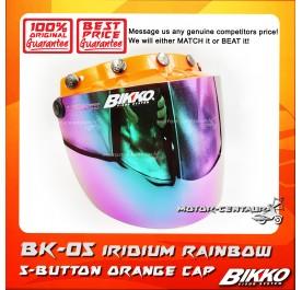BIKKO VISOR BK-05 IRIDIUM RAINBOW, 5 BUTTONS ORANGE-CAP