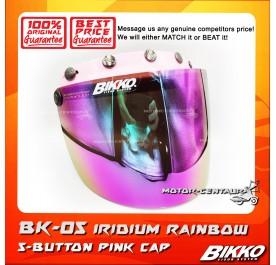 BIKKO VISOR BK-05 IRIDIUM RAINBOW, 5 BUTTONS PINK-CAP