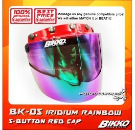 BIKKO VISOR BK-05 IRIDIUM RAINBOW, 5 BUTTONS RED-CAP