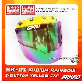 BIKKO VISOR BK-05 IRIDIUM RAINBOW, 5 BUTTONS YELLOW-CAP