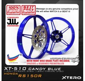 XTERO SPORT RIM W/FR DISC BRAKE PLATE XT-510 1.60X17(F) 1.85X17(R) RS150R CANDY BLUE