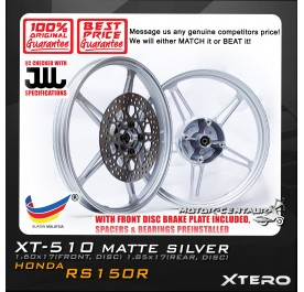 XTERO SPORT RIM W/FR DISC BRAKE PLATE XT-510 1.60X17(F) 1.85X17(R) RS150R SILVER