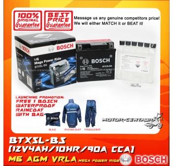 BOSCH VRLA AGM BATTERY M6 MEGA POWER RIDE BTX5L-BS + BOSCH RAIN COAT (LAUNCHING PROMOTION)