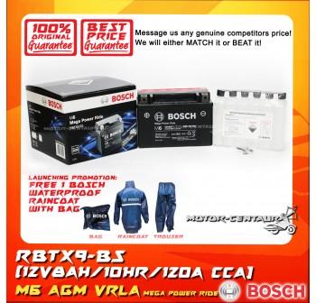 BOSCH VRLA AGM BATTERY M6 MEGA POWER RIDE RBTX9-BS + BOSCH RAIN COAT (LAUNCHING PROMOTION)