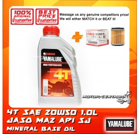 YAMALUBE 4T SAE 20W50 ENGINE LUBRICANT [1.0L] + YAMAHA OIL FILTER LC135