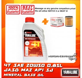 YAMALUBE 4T SAE 20W50 ENGINE LUBRICANT [0.85L] + YAMAHA OIL FILTER LC135