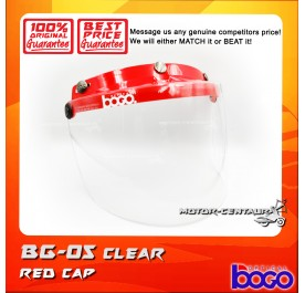 BOGO VISOR BG-05 CLEAR, RED-CAP
