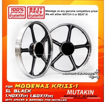 MUTAKIN SPORT RIMS W/BEARINGS 5L 1.40X17 (F) 1.60X17(R) KRISS 1 BLACK