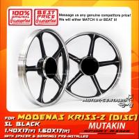 MUTAKIN SPORT RIMS W/BEARINGS 5L 1.40X17 (F) 1.60X17(R) KRISS 2 BLACK