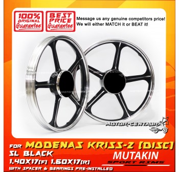 MUTAKIN SPORT RIMS W/BEARINGS 5L 1.40X17 (F) 1.60X17(R) KRISS 2 BLACK