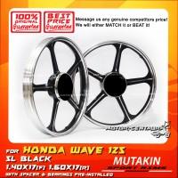 MUTAKIN SPORT RIMS W/BEARINGS 5L 1.40X17 (F) 1.60X17(R) WAVE125 BLACK
