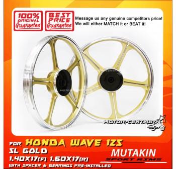 MUTAKIN SPORT RIMS W/BEARINGS 5L 1.40X17 (F) 1.60X17(R) WAVE125 GOLD