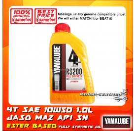 YAMALUBE (HLY) 4T ENGINE LUBRICANT SAE 10W50 FULLY SYNTHETIC RS200 ESTER BASED PERFORMANCE OIL [1.0L]