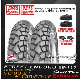 SWALLOW TUBELESS TYRE ENDURO SB-117 90/90-21 + 120/80-18 + TUBES