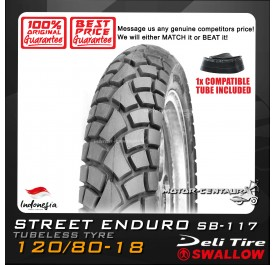 SWALLOW TUBELESS TYRE ENDURO SB-117 120/80-18 WITH FKR TUBE