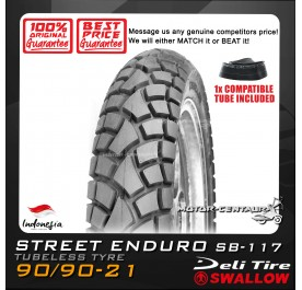 SWALLOW TUBELESS TYRE ENDURO SB-117 90/90-21 WITH FKR TUBE