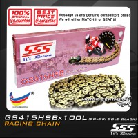 SSS RACING CHAIN GS415HSB X 100L GOLD PLATED (OUTER LAYER ONLY)