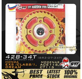 STT REAR SPROCKET (SR3-07-34T) EX5 428-34T GOLD