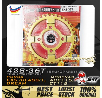 STT REAR SPROCKET (SR3-07-36T) EX5 428-36T GOLD
