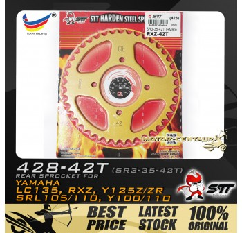 STT REAR SPROCKET (SR3-35-42T) RXZ 428-42T GOLD