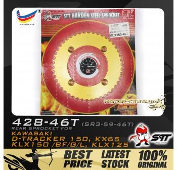 STT REAR SPROCKET (SR3-59-46T) KLX150 428-46T GOLD