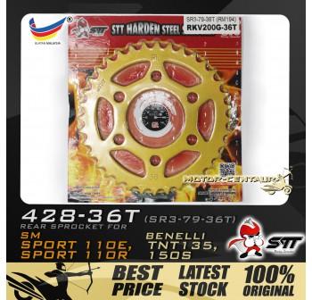 STT REAR SPROCKET (SR3-79-36T) SM SPORT 428-36T GOLD