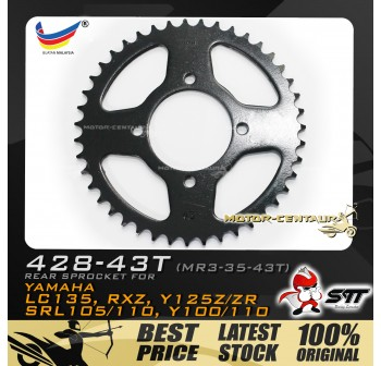 STT REAR SPROCKET (MR3-35-43T) RXZ 428-43T BLACK