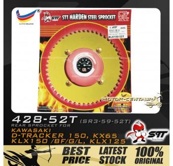 STT REAR SPROCKET (SR3-59-52T) KLX150 428-52T GOLD